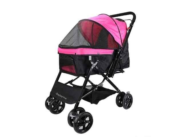 Display4top Pink Pet Travel Stroller, Carro de Cuatro Ruedas Plegable